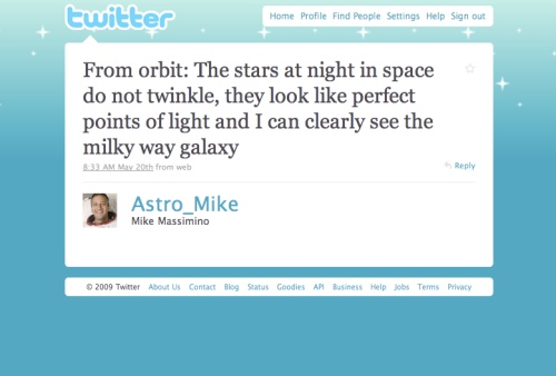 @Astro_Mike's tweet from orbit