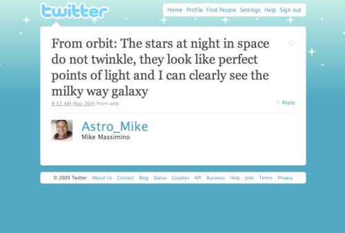 @Astro_Mike's tweet from orbit