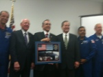 Members of Congress pose with STS-128 crew
