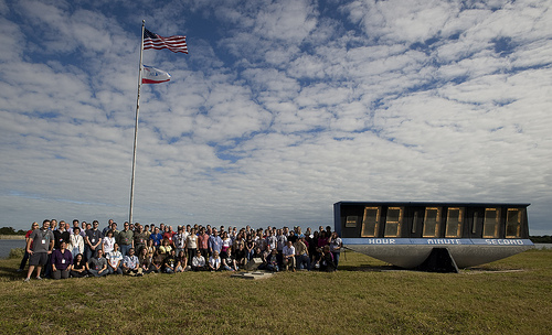 Space tweeps @ Launch Countdown clock. 11/16/09 Photo Credit: NASA/Carla Cioffi