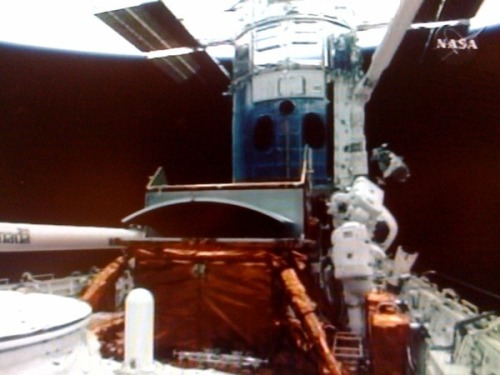 I took this image of Hubble repair from our NASA monitor