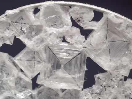 Space Station sodium chloride crystal