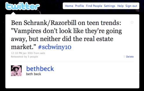 Vampire quote from Ben Schrank @ SCBWI NYC