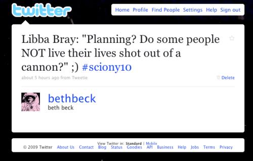 Tweet about SCBWI keynote speaker Libba Bray