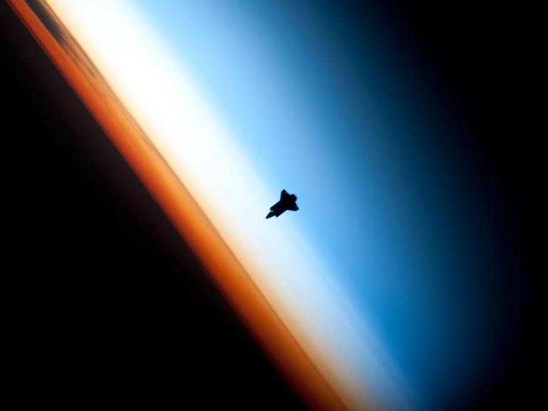 Space Shuttle Endeavor against the Sky