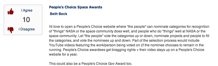 OpenGov/NASA People's Choice Award
