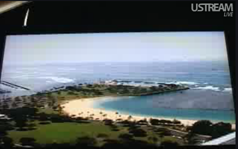 U-streamed Skype view of Hilo Bay, Hawaii