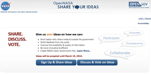 OpenGov NASA idea sharing site