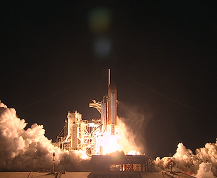 Lift off! STS-131 Space Shuttle Discovery. Photo: NASA TV