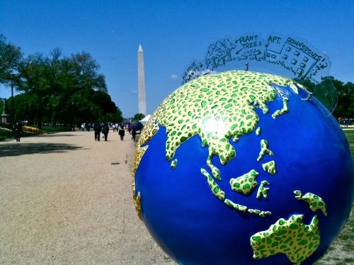 Planet Earth art sculpture on National Mall