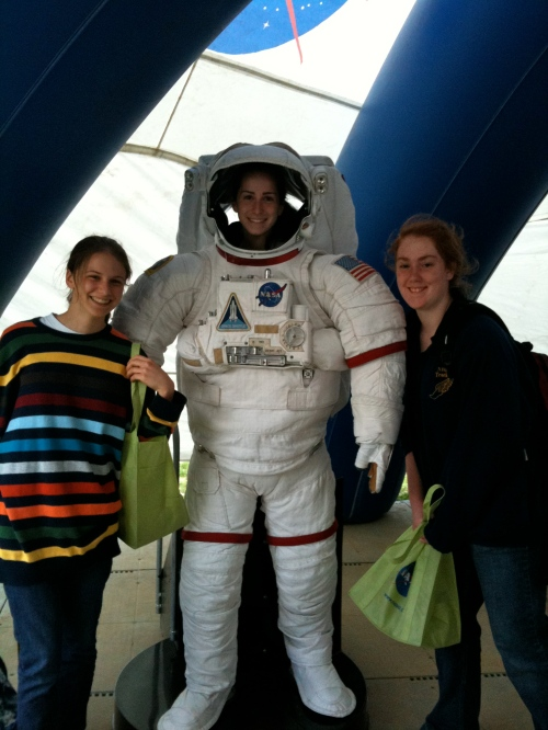 Hannah (in stripes) LOVES all things space! Girl power!