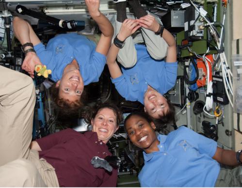 4 females in space. April 7, 2010