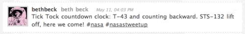 sTS-132 tweet