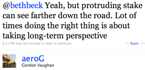 Tweet: Doing right thing is about long-term perspective.
