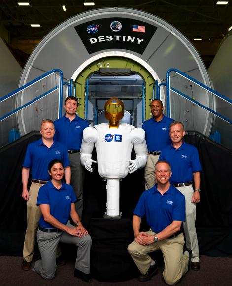 STS-133 crew with Robonaut 2