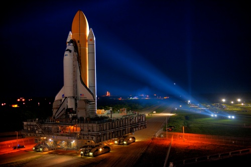 Space Shuttle Discovery on the way to the launchpad.