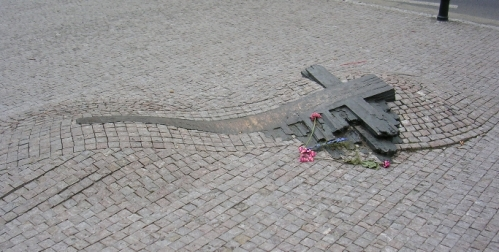 Memorial to Jan Palach and Jan Zajíc in front of Prague National Museum