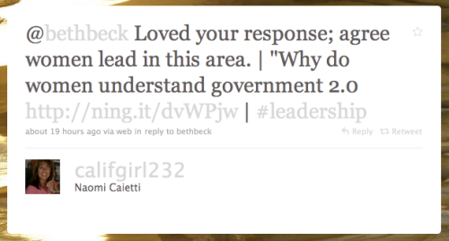 @califgirl232 tweet about women and Gov 2.0