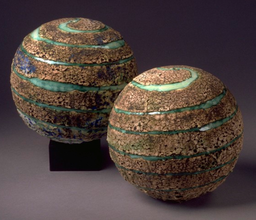 Planet/Wheelthrown Stoneware Textured Sphere