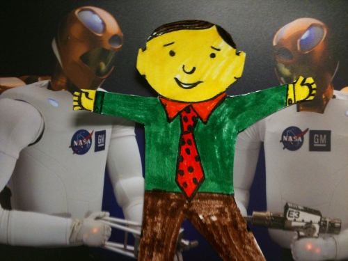 Flat Stanley with his peeps: Robonaut 2 Twins