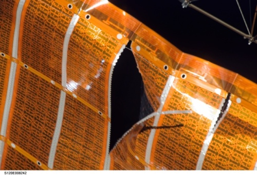 Damaged Space Station solar array