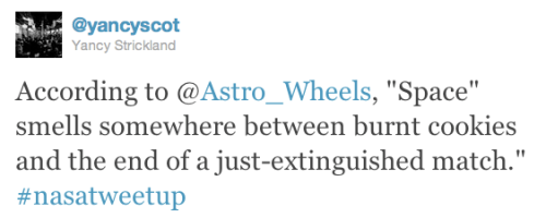 @Astro_Wheels describes space smell