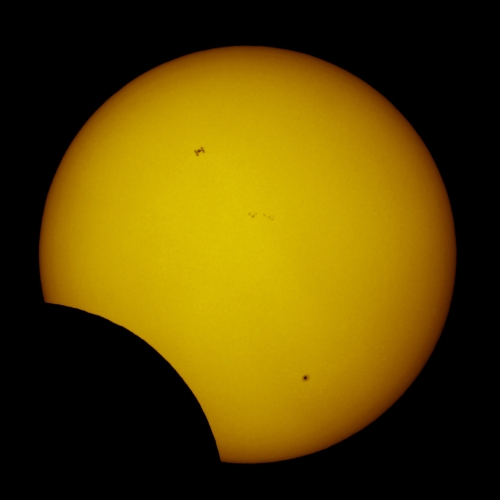 Space Station during Solar Eclipse 01/04/2011. Permission granted by Thierry Legault.