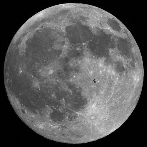 Space Station during Lunar Eclipse 12/20/2010. Permission granted by Thierry Legault.