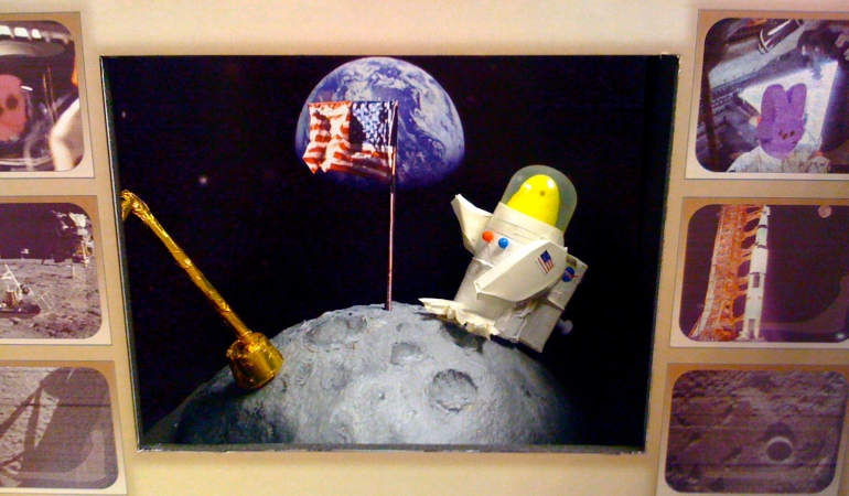 Apollo Peep-stonaut on Moon created by NASA team