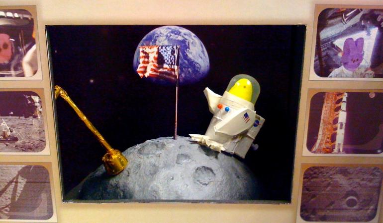 Apollo Peep-stonaut on Moon created by NASA team