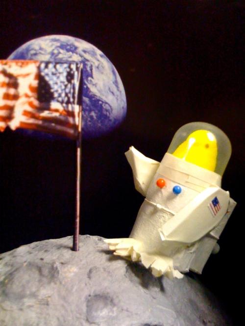Apollo Peeps-tronaut on Moon