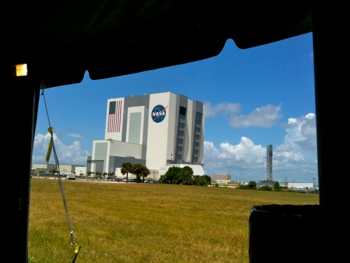 View from inside the STS-134 Tweetup Tent