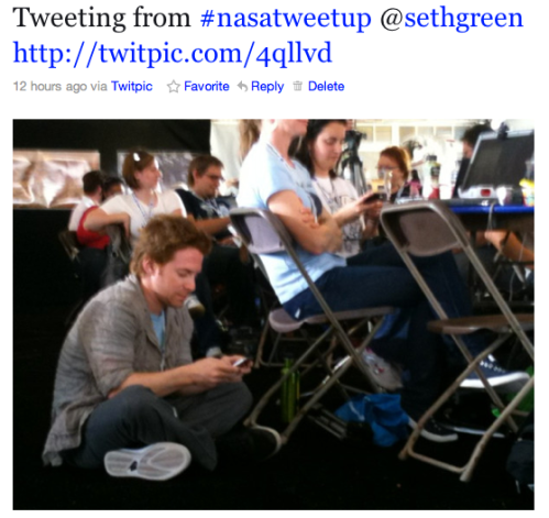 @SethGreen tweeting @Astro_Clay-isms