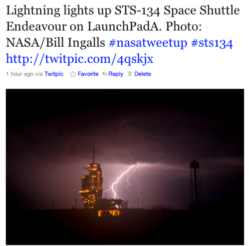 NASA's Bill Ingalls' Lightning photo