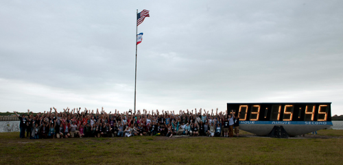 STS-134 NASA Tweetup Launch Clock portrait