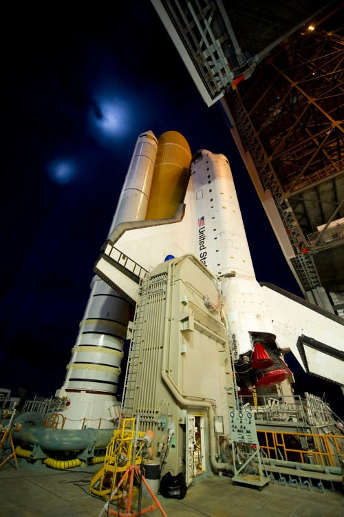 Space Shuttle Atlantis rolling out to the launch pad for her final flight. NASA/Bill Ingalls