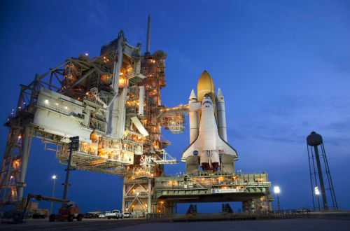 STS-135 Space Shuttle Atlantis on launch pad. Credit: NASA/Terry Zaperach