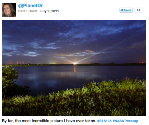 Sarah Horst @PlanetDr twitpic of Atlantis on the pad L-0