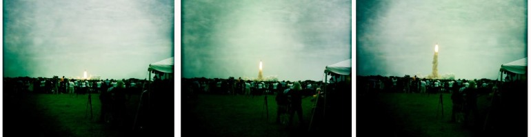 STS-135 trio of images from liftoff of Atlantis