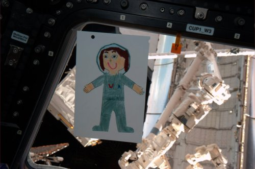 @FlatSamantha: Junior crew member for STS-134. Photo by Pilot Greg Johnson