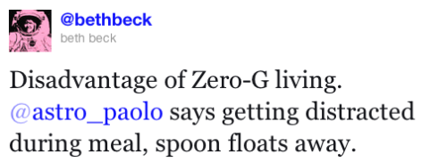 Paolo Nespoli: Disadvantage of Zero-G living -- losing your spoon.