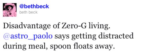 Paolo Nespoli: Disadvantage of Zero-G living -- losing your spoon.