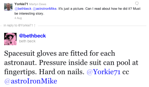 Tweet about @AstroIronMike's fingernails