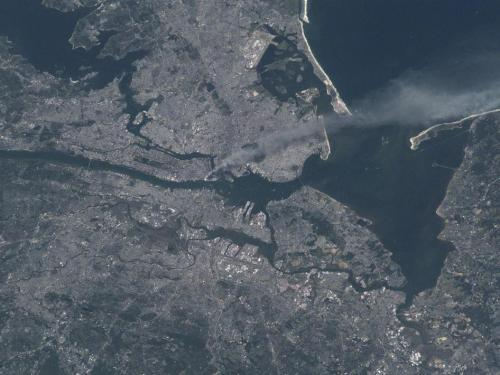 Smoke from Twin Towers. Credit: NASA