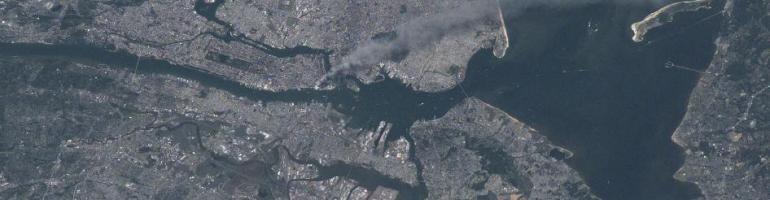 Smoke from Twin Towers. Credit: NASA