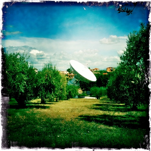 Not so hidden among the olive trees, ESA's satellite dish.