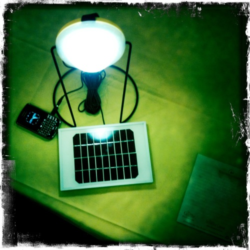 Solantern light, charging station, and solar charger.