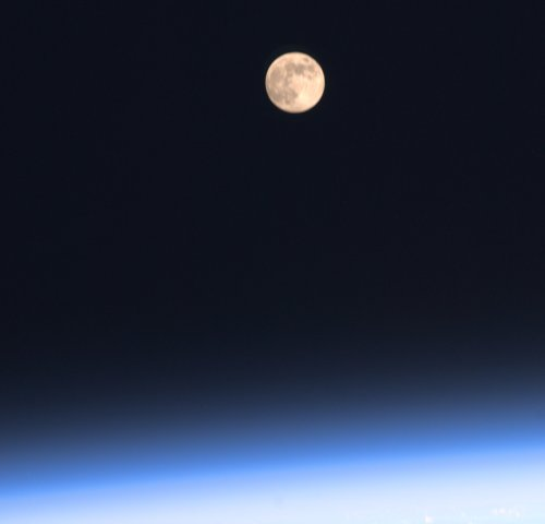 View from Space Station: 16 Moonrises Each Day. Photo by Astronaut Ron Garan