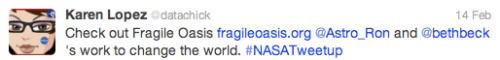 NASA Tweetup @datachick Tweet