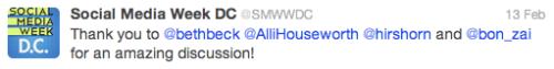 Social Media Week @SMWWDC tweet